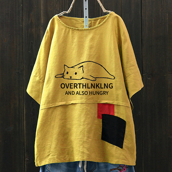 Lovely Cat Printed T-Shirts