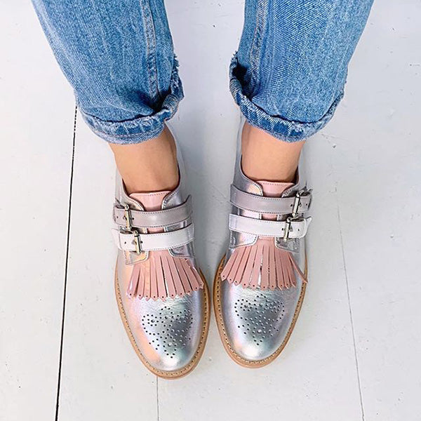 Women Buckle Strap Casual Flats