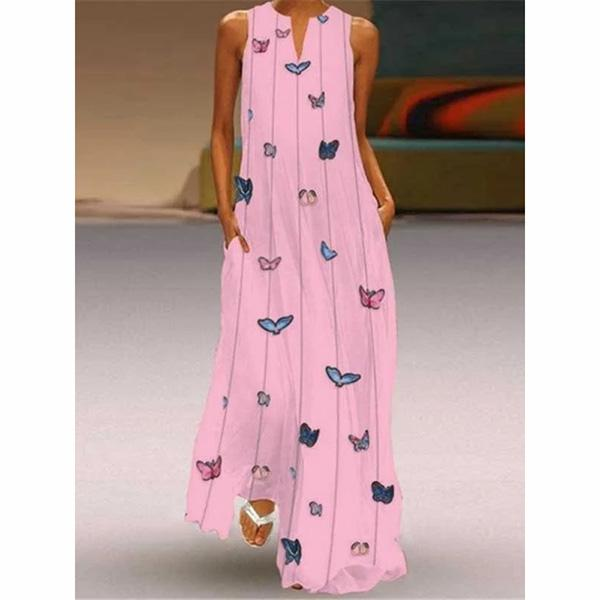 Women's Retro Butterfly Printed V-Neck Summer Dresses