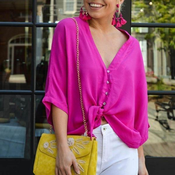 Daily V-Neck Knotted Solid Color Blouse