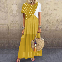 Short Sleeve Polka Dot Plaid Short Sleeve Dress
