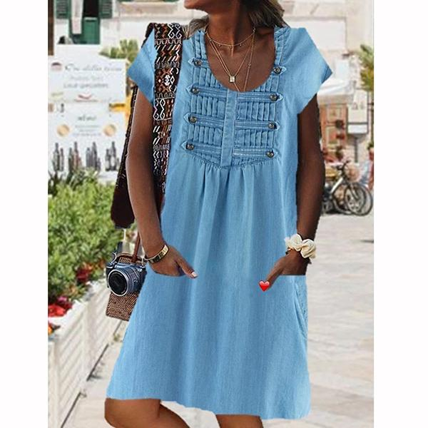 Women Casual Scoop Neck Short Sleeve Pockets Dresses