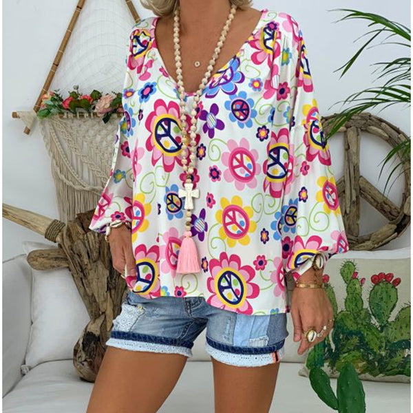 V Neck Flower Printed Loose Women Blouses