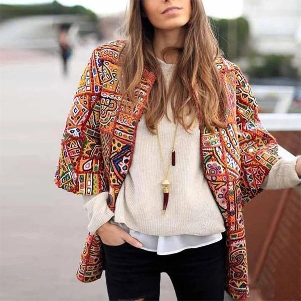 Women Fashion Boho Chic Long Sleeve Jacket Coats
