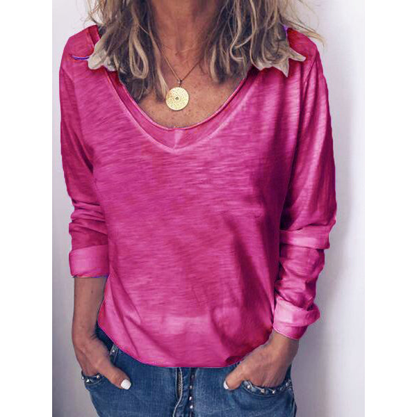 Women Plain Casual Long Sleeve Blouses