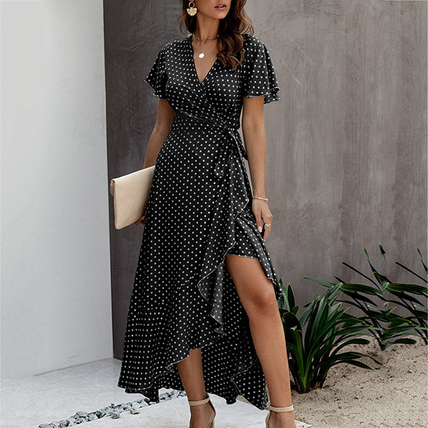 Summer Fashion V Neck Polka Dot Women Dress