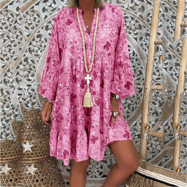 Fashion Loose Ruffle Sleeve V Neck Dress