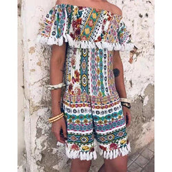 Bohemian Off-Shoulder Print Fringe Mini Dress