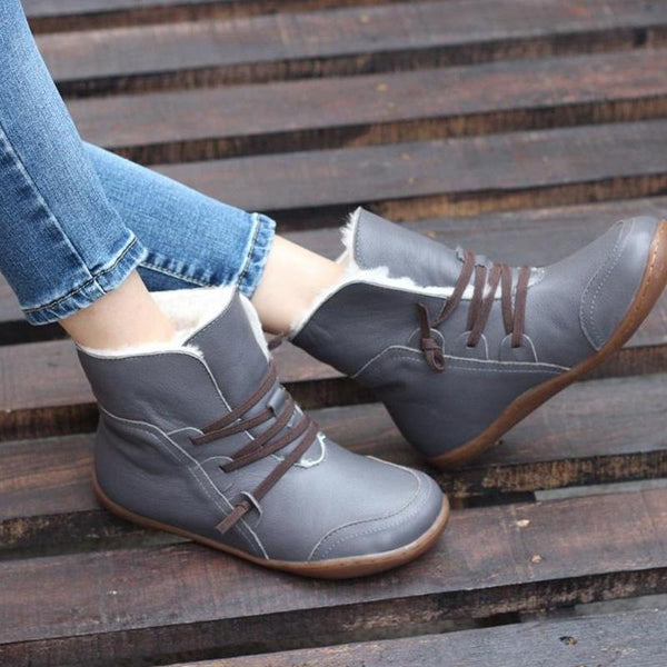 Casual Round Toe Warm Flat Ankle Boots