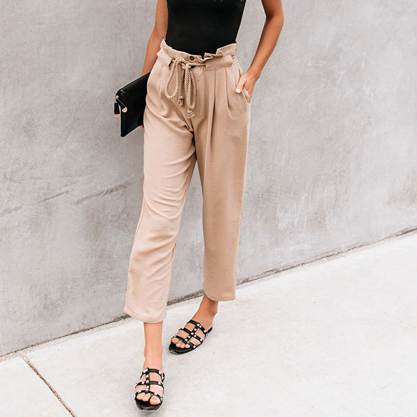 Solid Color Lace-Up Elastic Waist Pants