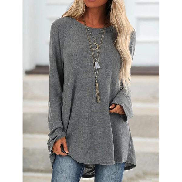 Casual Long Sleeve Round Neck Blouse