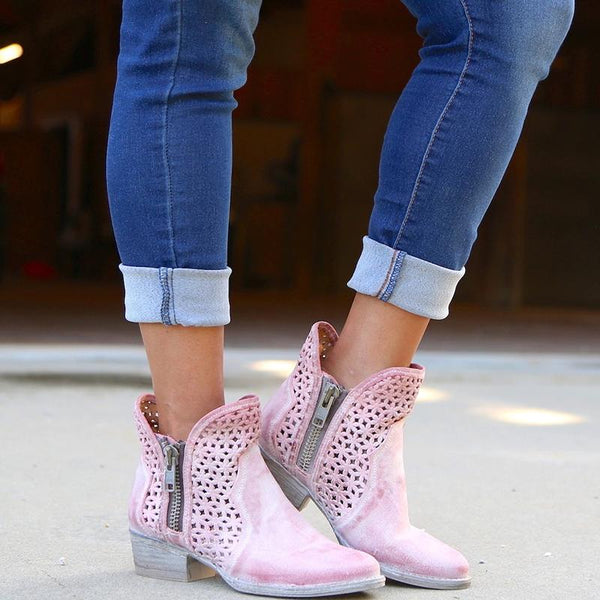 Fashion Hollow Out Ankle Boots