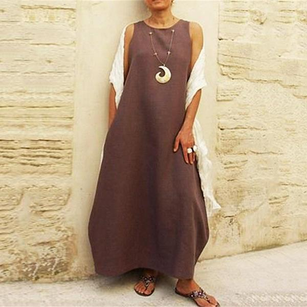 Women's Loose Round Neck Solid Color Dress