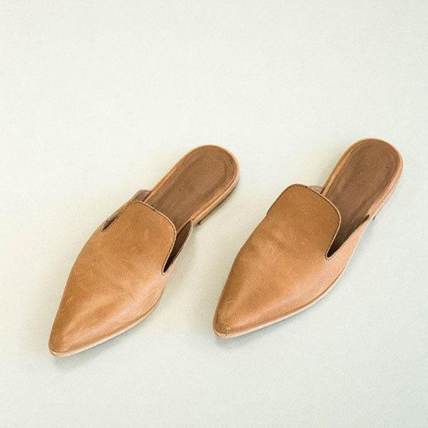 Pointed Low Heel Half Slippers