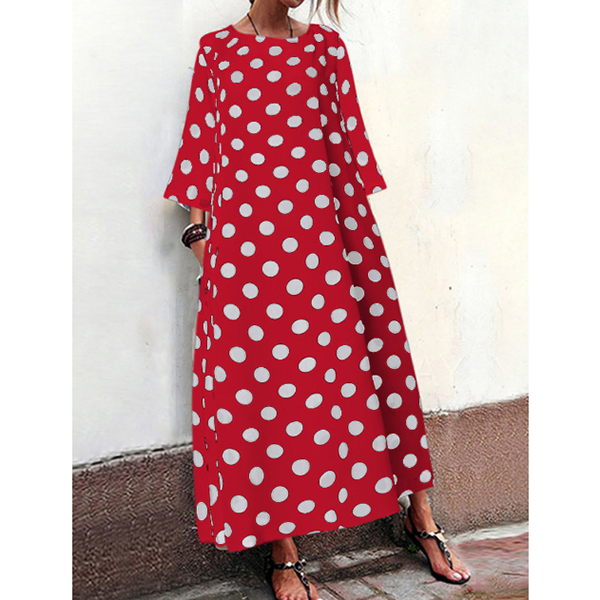 3/4 Sleeve Polka Dot Casual Women Maxi Dresses