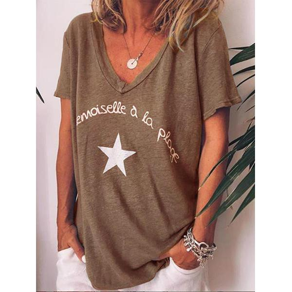 Casual V Neck Letter Printed Short Sleeve T-Shirts