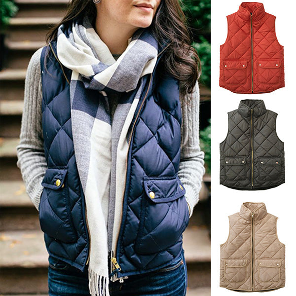 Casual Women Zipper Sleeveless Coats