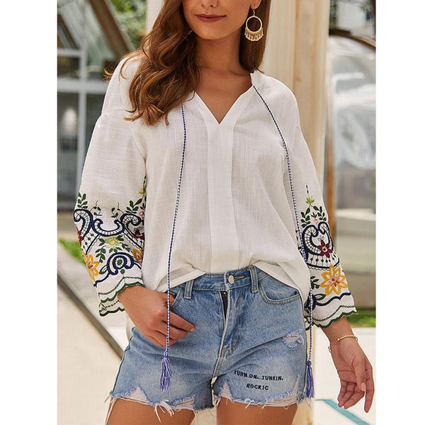 Daily Embroidery Tassle Trim Blouses