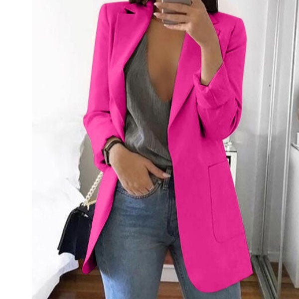 Lady Thin Blazer Lapel Solid Color Casual Coats