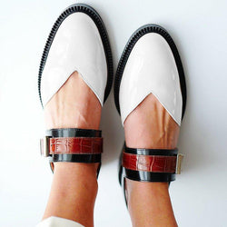 Buckle Color block Sandals Flats