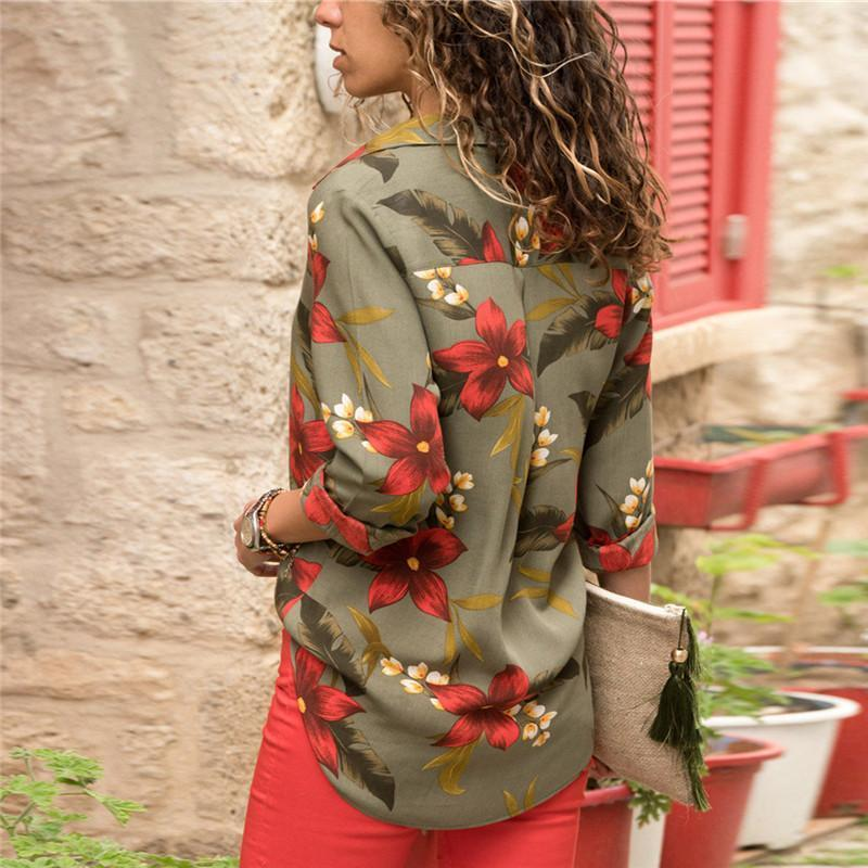 Long Sleeve Floral Casual Turn Down Collar Ladies Blouses