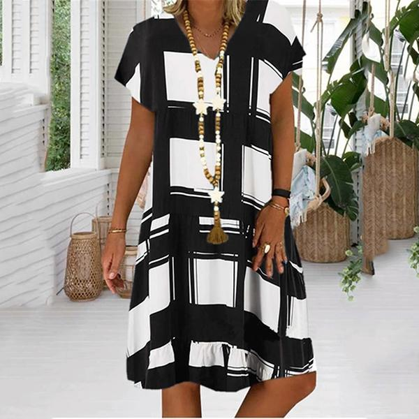 Women Summer Fashion Digital Printing V-neck Short Sleeve Dresses