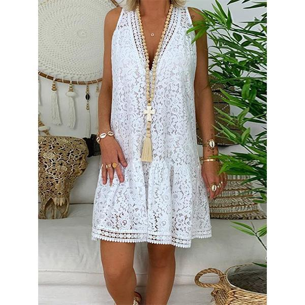 V-Neck Above Knee Hollow Casual Lace Dress