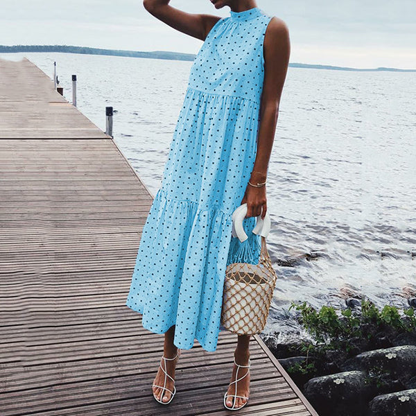 Polka Dot Halter Neck Maxi Dresses