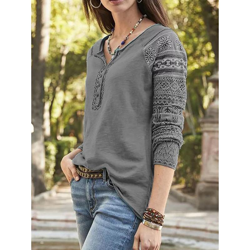 V-Neck Tribal Casual Buttoned Blouses