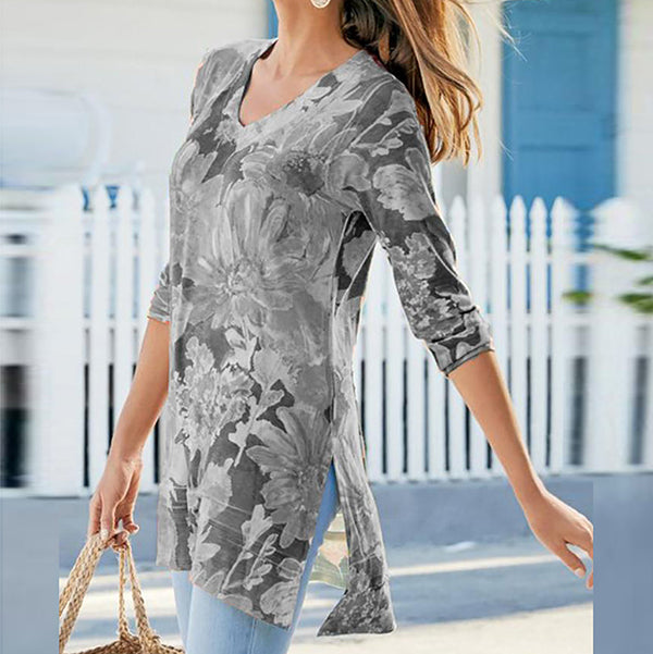 Casual V Neck Printed 3/4 Sleeve Blouse