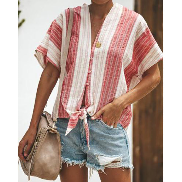 Stripe Long Sleeve Blouse Casual Shirt