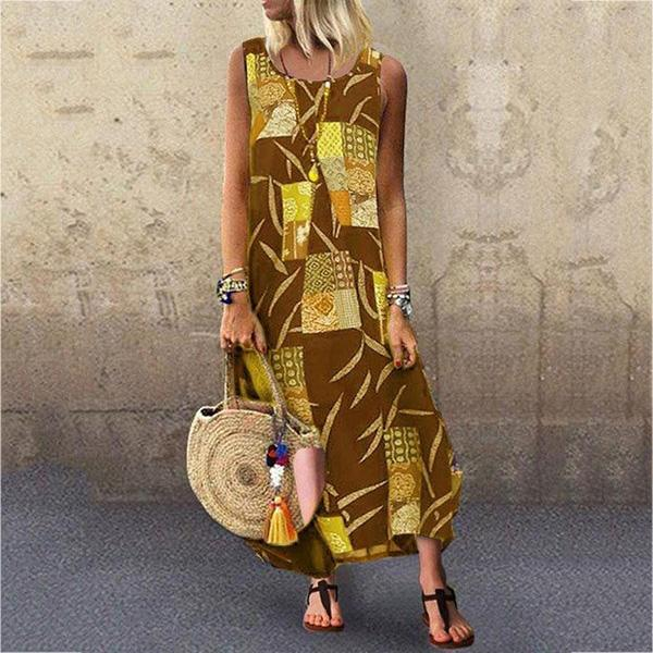 Temperament Printed Sleeveless Dress