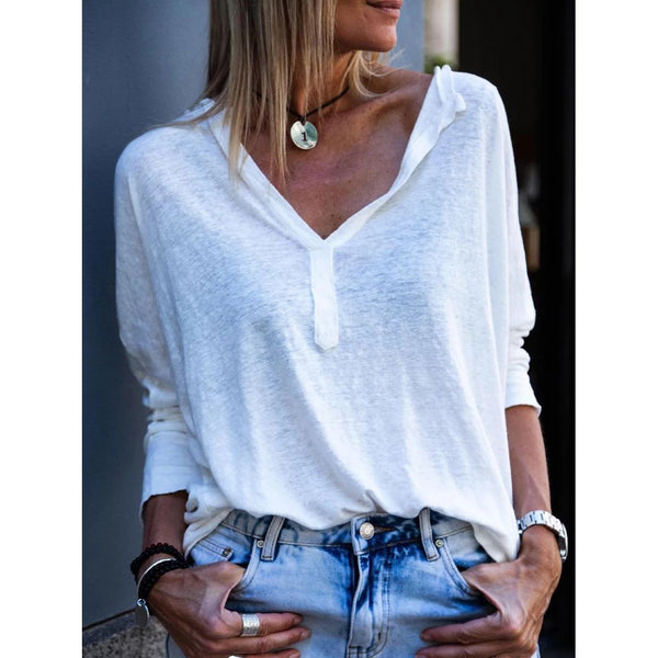Women Casual V-neck Tunic Blouse