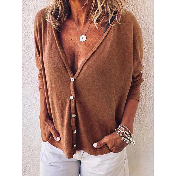 Women's V Neck Buttoned Sexy Blouses