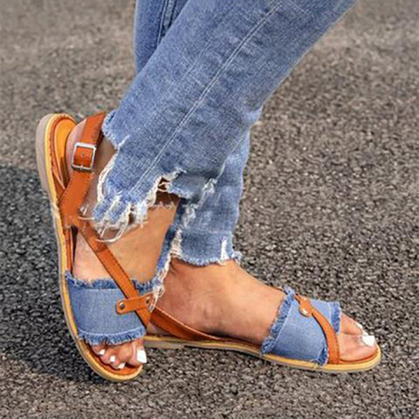 Comfortable Cross Strap Flat Sandals