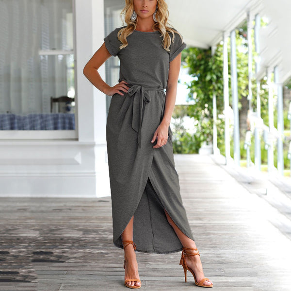 Fashion Front Slit Irregular Short-sleeved Dress