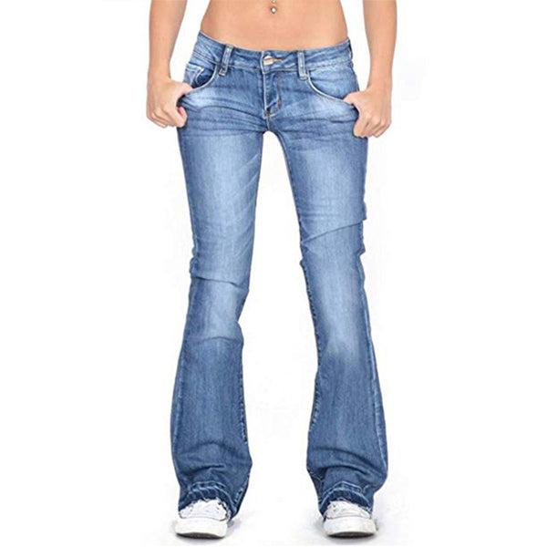 Low-Rise Faded Frayed Ends Jeans