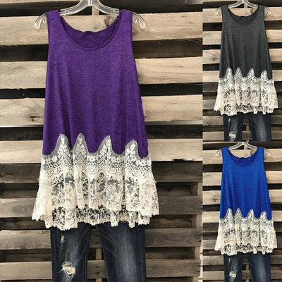 Solid Color Lace Stitching Sleeveless Blouse