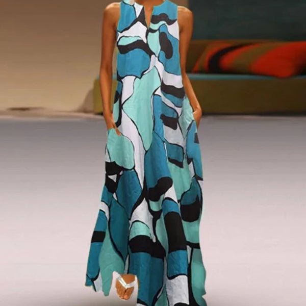 Fashion Printing Sleeveless Long Dress