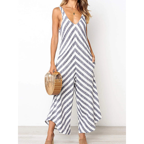 Striped V Neck Casual Jumpsuits