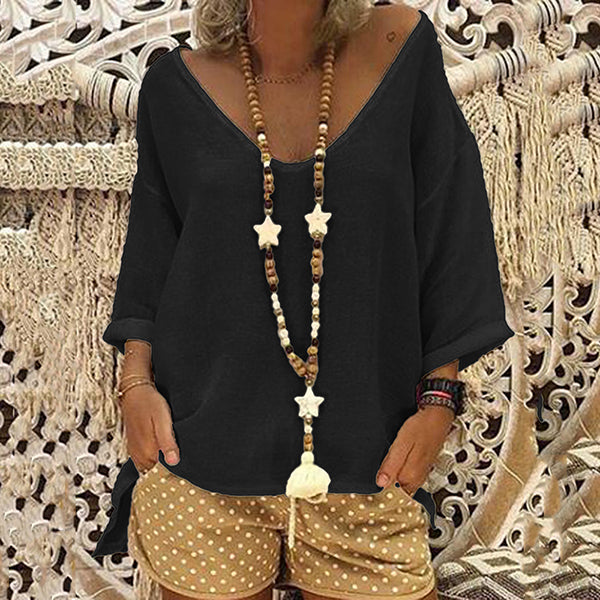 Casual V Neck Solid Color Blouse