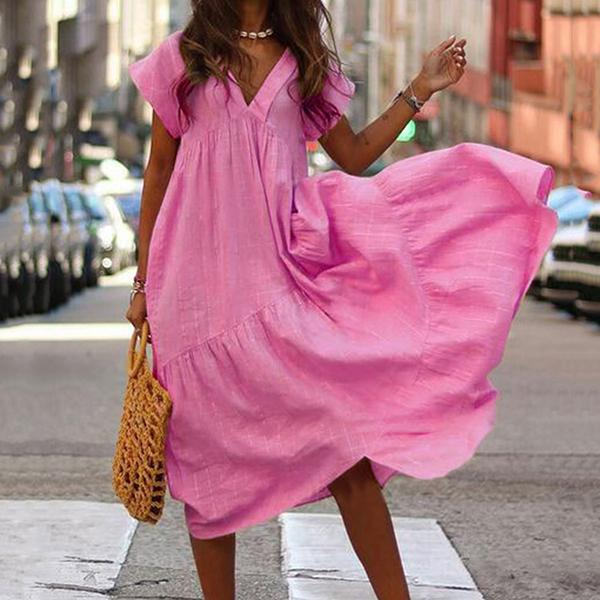 Casual V Neck Ruffle Side Dress