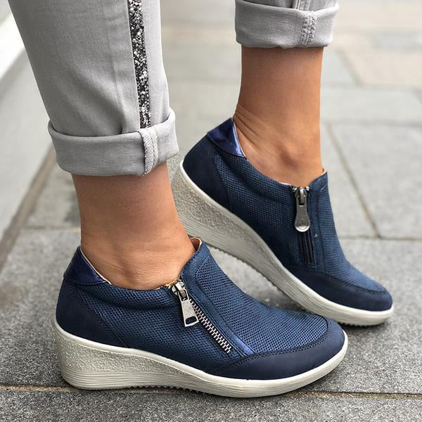 Casual Wedge Zipper Comfortable Sneaker