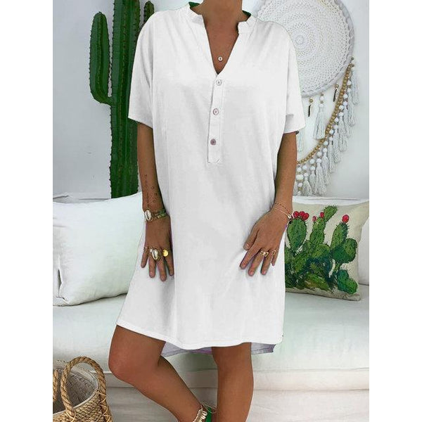 V Neck Women Dresses Casual Solid Summer Plus Size Dresses