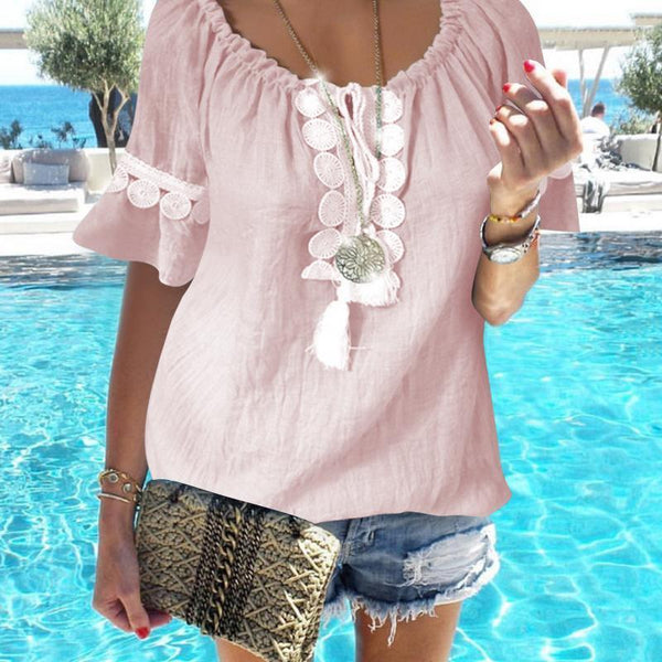 Plus Size Casual Neckline Drawstring Lace Short Sleeves Top