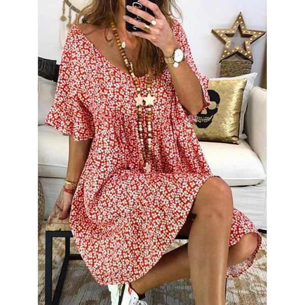 Women Plus Size  Floral Printed Short Sleeve Vintage Summer Dresses