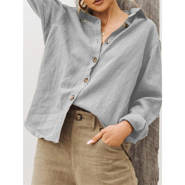 Solid Color  Lapel Neck Button Blouse