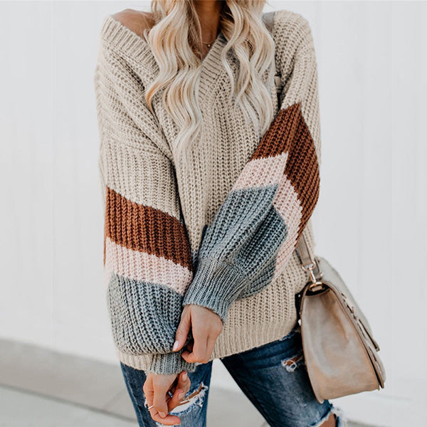 Winter Color Block V-Neck Sweaters