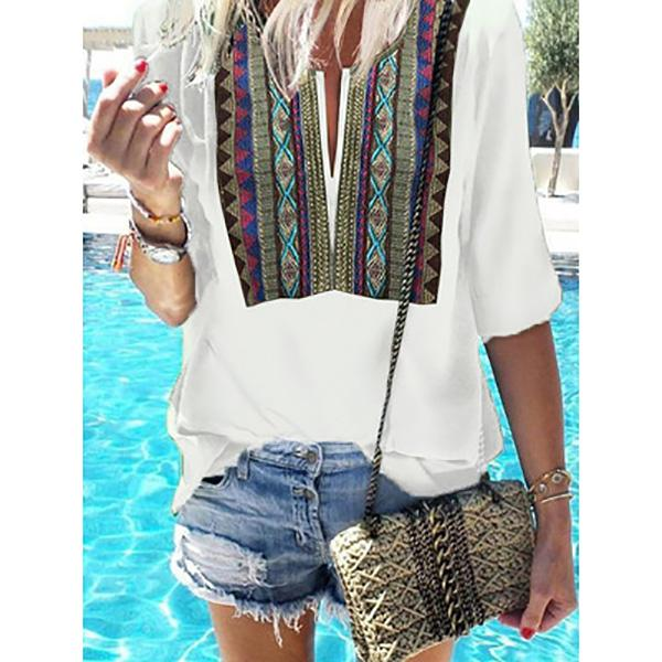 Bohemian Printed Loose Casual T-Shirts
