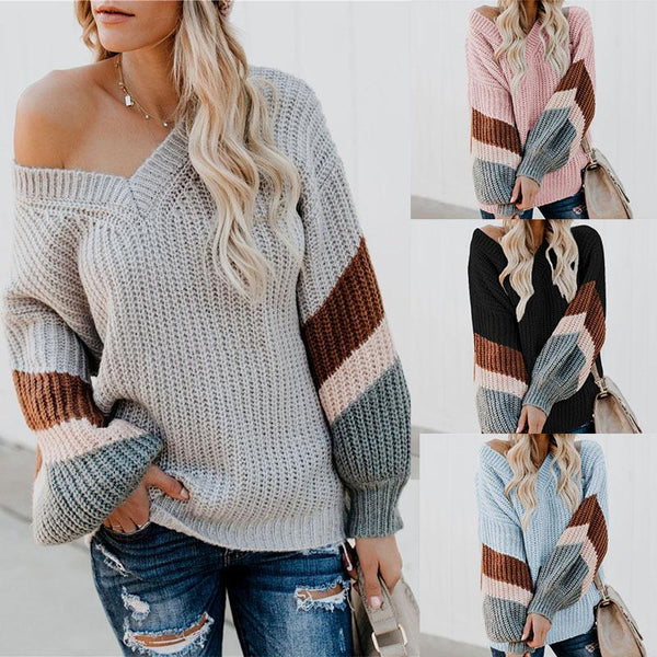 V-Neck Stripe Bishop Sleeve Sweaters